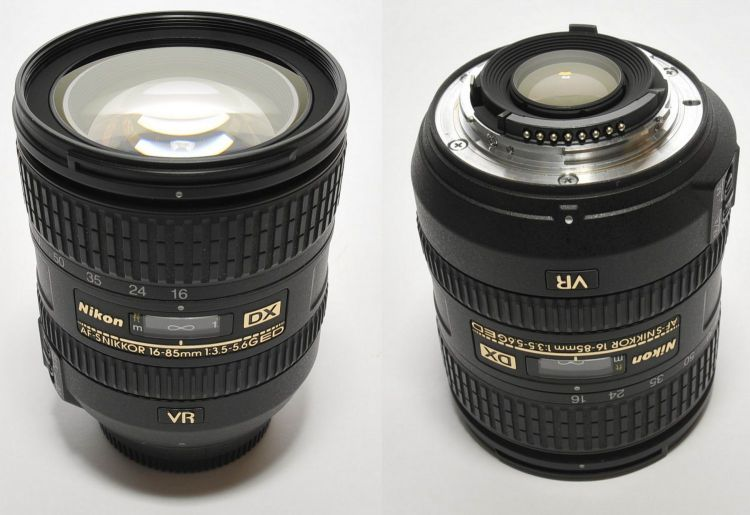 Front and Back of Nikon DX 16-85mm Lens