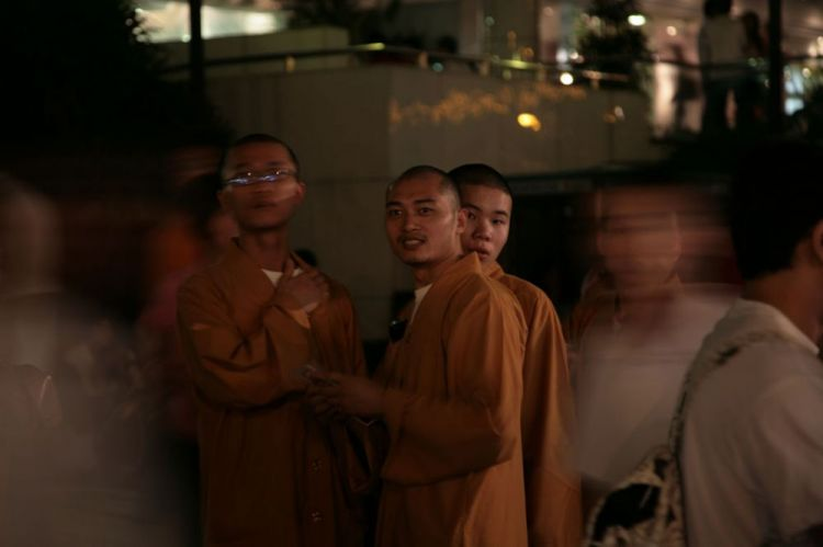 Monks at Orchard on Xmas Eve