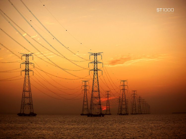 steel towers in the sunset