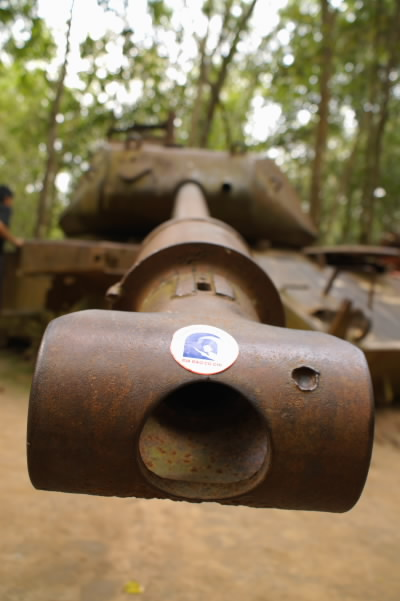 US armour tank exhibit - Cu Chi Tunnel