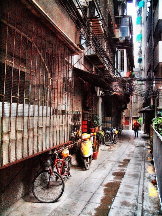 a quiet and empty alley