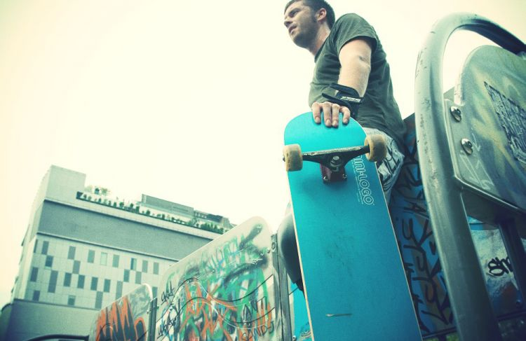 With my Skateboard